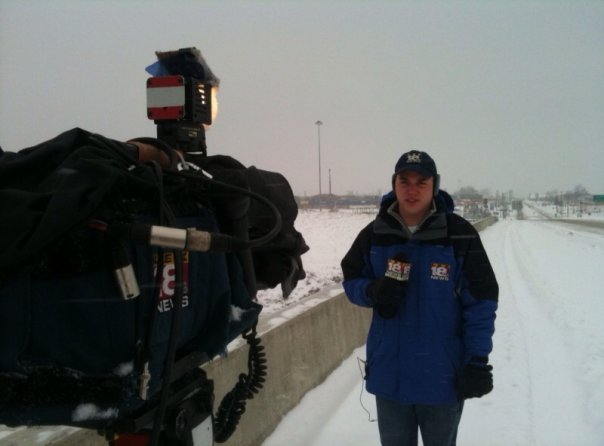 Reporting on snowy conditions.