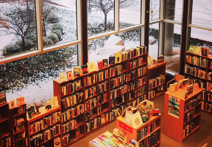 Bookshelves with snowy background outside.
