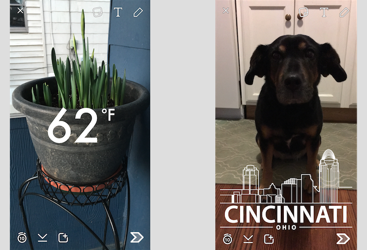 Snapchat filters allow you to add graphics to your photos & videos.